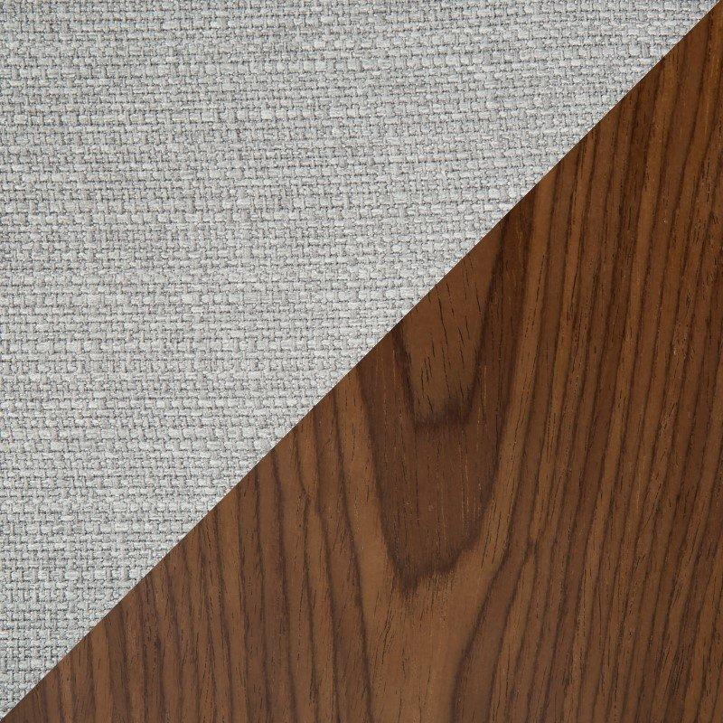 Lumisource Curvo Mid-Century Modern Tufted Settee in Walnut and Grey Fabric (CH-CRV55 WL+GY)