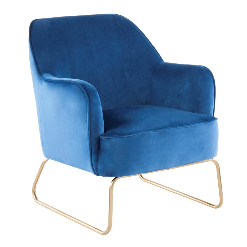 Lumisource Daniella Contemporary Accent Chair in Gold Metal and Blue Velvet (CHR-DANIELLASL AUBU)