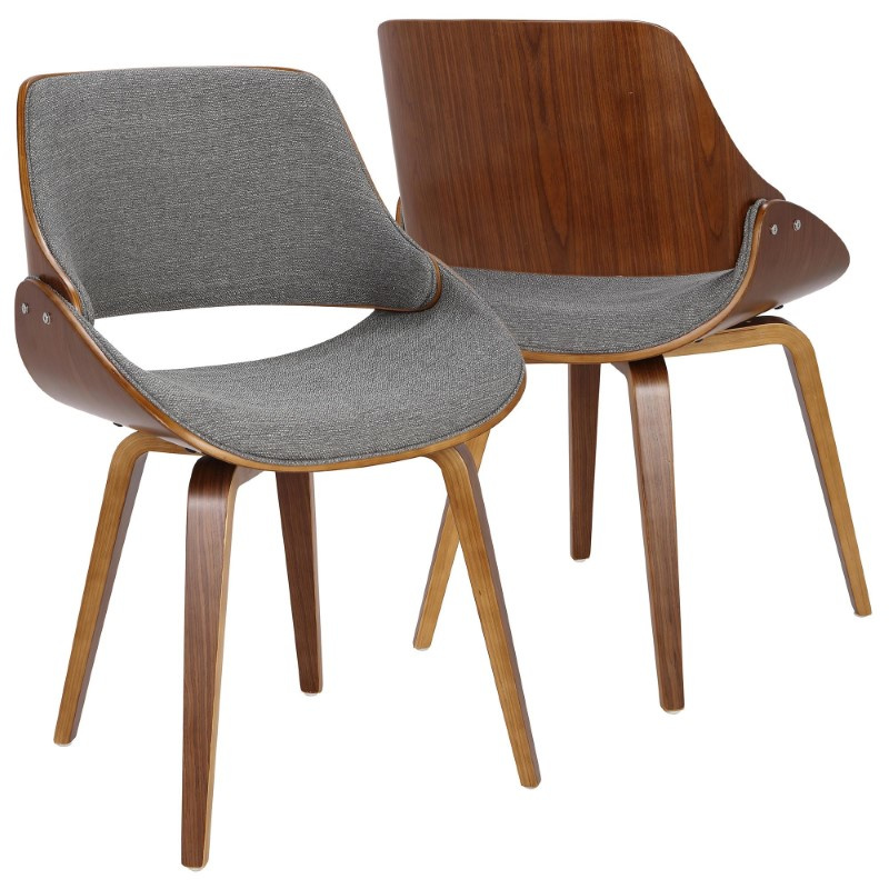 Lumisource Fabrizzi Mid-Century Modern Dining/Accent Chair in Walnut and Grey Fabric (CH-FBZZNL WL+GY)