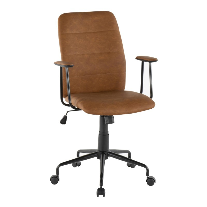 Lumisource Fredrick Contemporary Office Chair in Brown Faux Leather (OC-FRED BK+BN)