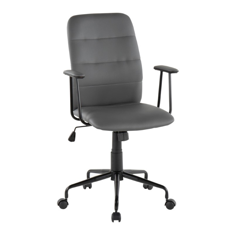 Lumisource Fredrick Contemporary Office Chair in Grey Faux Leather (OC-FRED BK+GY)