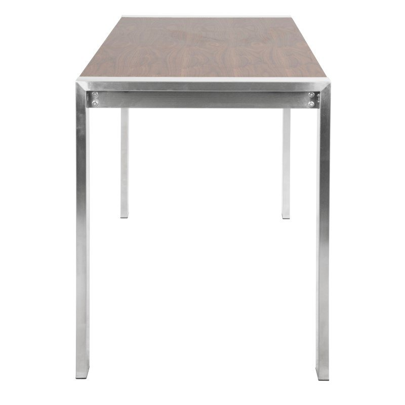 Lumisource Fuji Contemporary Counter Table in Brushed Stainless Steel and Walnut Wood (CT-FUJI SS+WL)