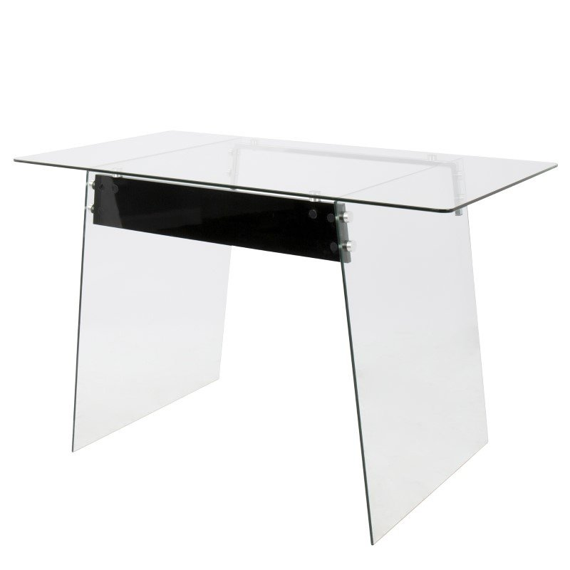 Lumisource Glacier Contemporary Office Desk In Clear and Black (OFD-TM-GLACBK)