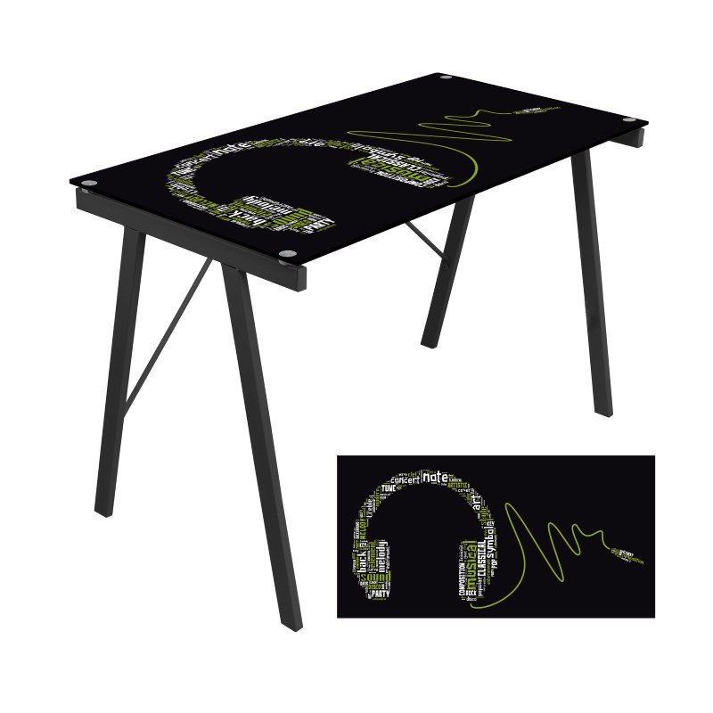 Lumisource Graphic Exponent Desk in Black and Green