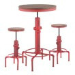 Lumisource Hydra Industrial Bar Set in Vintage Red Metal and Brown Wood-Pressed Grain Bamboo (B-HYDRA3 RBN)
