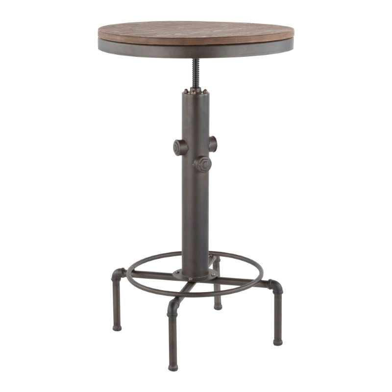 Lumisource Hydra Industrial Bar Table in Vintage Antique Metal and Brown Wood-Pressed Grain Bamboo (BT-HYDRA AN+BN)