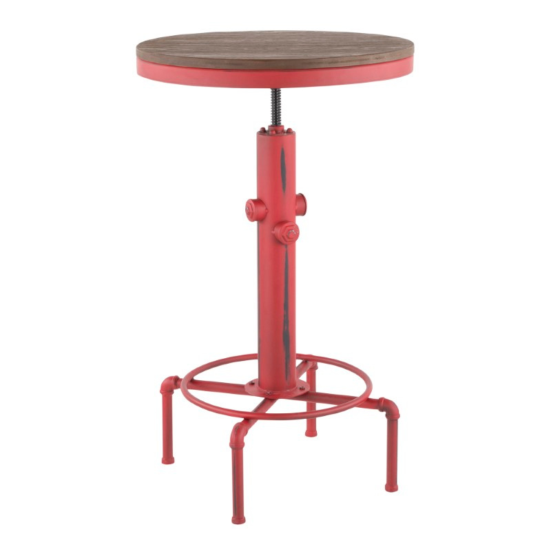 Lumisource Hydra Industrial Bar Table in Vintage Red Metal and Brown Wood-Pressed Grain Bamboo (BT-HYDRA R+BN)
