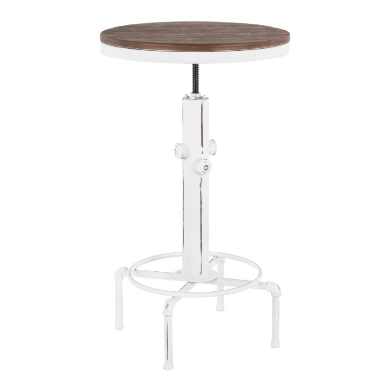 Lumisource Hydra Industrial Bar Table in Vintage White Metal and Brown Wood-Pressed Grain Bamboo (BT-HYDRA VW+BN)