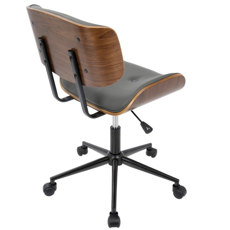 Lumisource Lombardi Mid-Century Modern Adjustable Office Chair with Swivel in Walnut and Grey (OC-JY-LMB WL+GY)