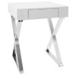 Lumisource Luster Contemporary Side Table in White and Chrome (TB-LSTR W)