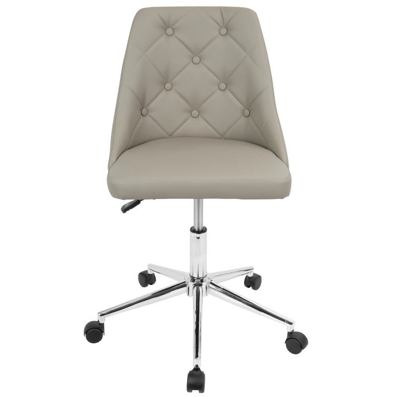Lumisource Marche Contemporary Adjustable Office Chair with Swivel in Light Grey Faux Leather (OFC-MARCHE LGY)