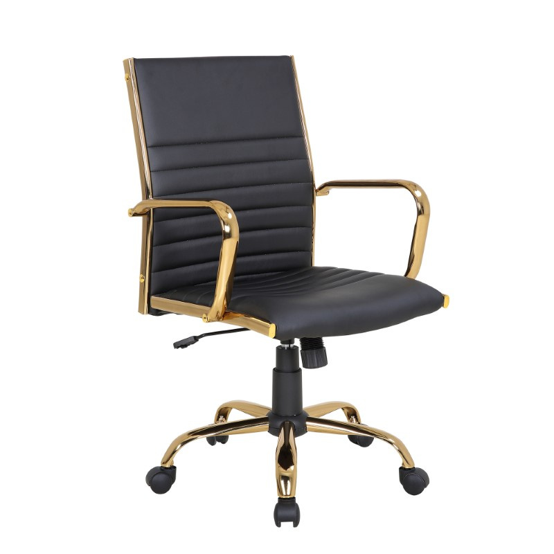 Lumisource Master Contemporary Adjustable Office Chair with Swivel in Gold with Black Faux Leather (OC-MSTR AU+BK)