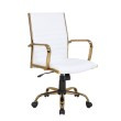 Lumisource Master Contemporary Adjustable Office Chair with Swivel in Gold with White Faux Leather (OC-MSTR AU+W)