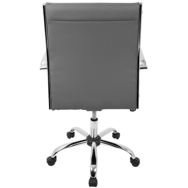 Lumisource Master Contemporary Adjustable Office Chair with Swivel in Grey Faux Leather (OFC-AC-MSTR GY)