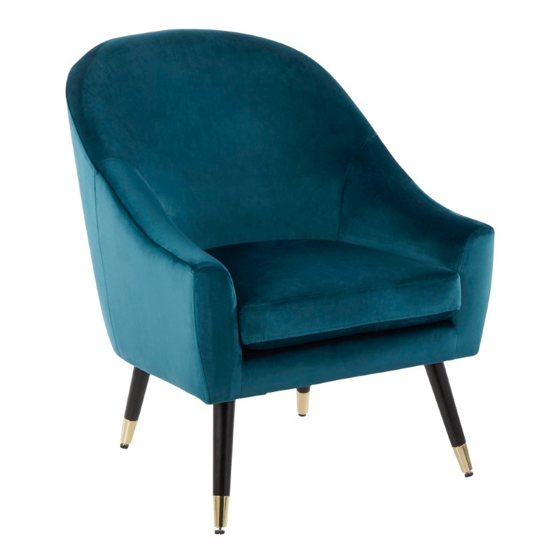 Lumisource Matisse Contemporary/Glam Accent Chair in Teal Velvet with Gold Accent (CHR-MATSE BK+TL)