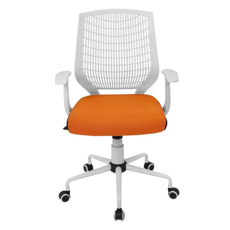 Lumisource Network Height Adjustable Office Chair in White and Orange