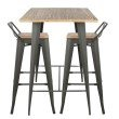 Lumisource Oregon 3-Piece Industrial Low Back Pub Set in Grey and Brown (B-LBOR3 GY+BN)