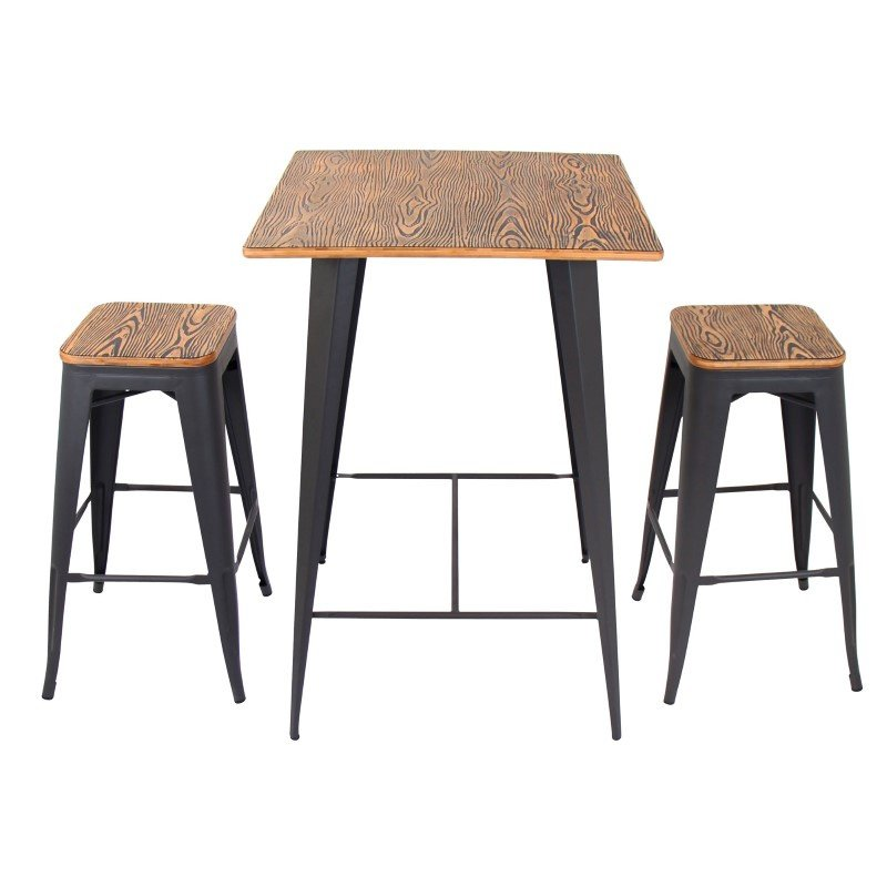 Lumisource Oregon 3-Piece Industrial Pub Set in Grey and Brown (B-OR3PC BN+GY)