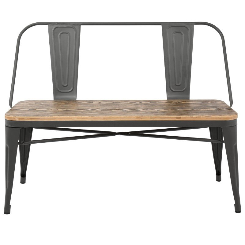 Lumisource Oregon Industrial-Farmhouse Bench in Grey and Brown (BC-OR GY+BN)