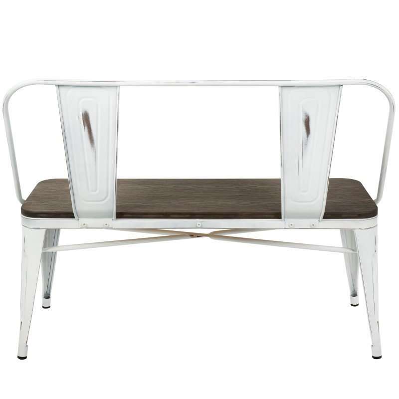 Lumisource Oregon Industrial-Farmhouse Bench in Vintage White and Espresso (BC-OR VW+E)