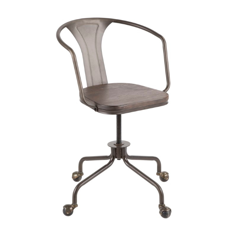 Lumisource Oregon Industrial Task Chair in Antique Metal and Espresso Wood-Pressed Grain Bamboo (OC-OR AN+E)