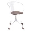 Lumisource Oregon Industrial Task Chair in Vintage White Metal and Espresso Wood-Pressed Grain Bamboo (OC-OR VW+E)