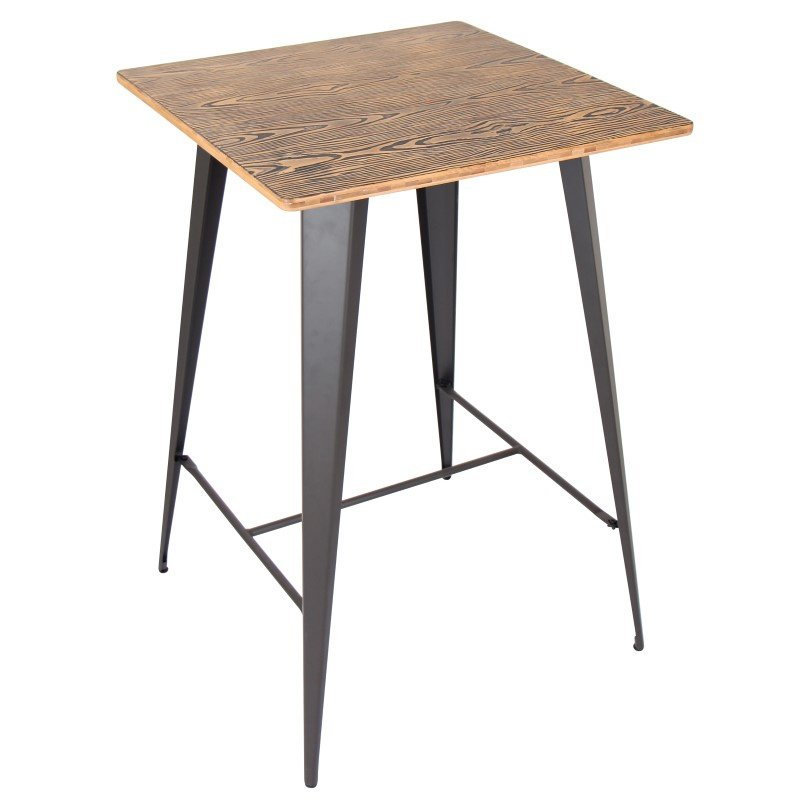 Lumisource Oregon Pub Table in Medium Brown Top and Grey Finish