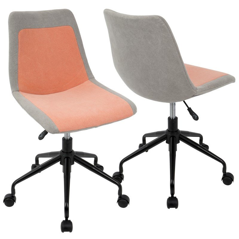 Lumisource Orzo Height Adjustable Task Chair in Black with Orange Denim Fabric (OC-ORZO BK+OR)