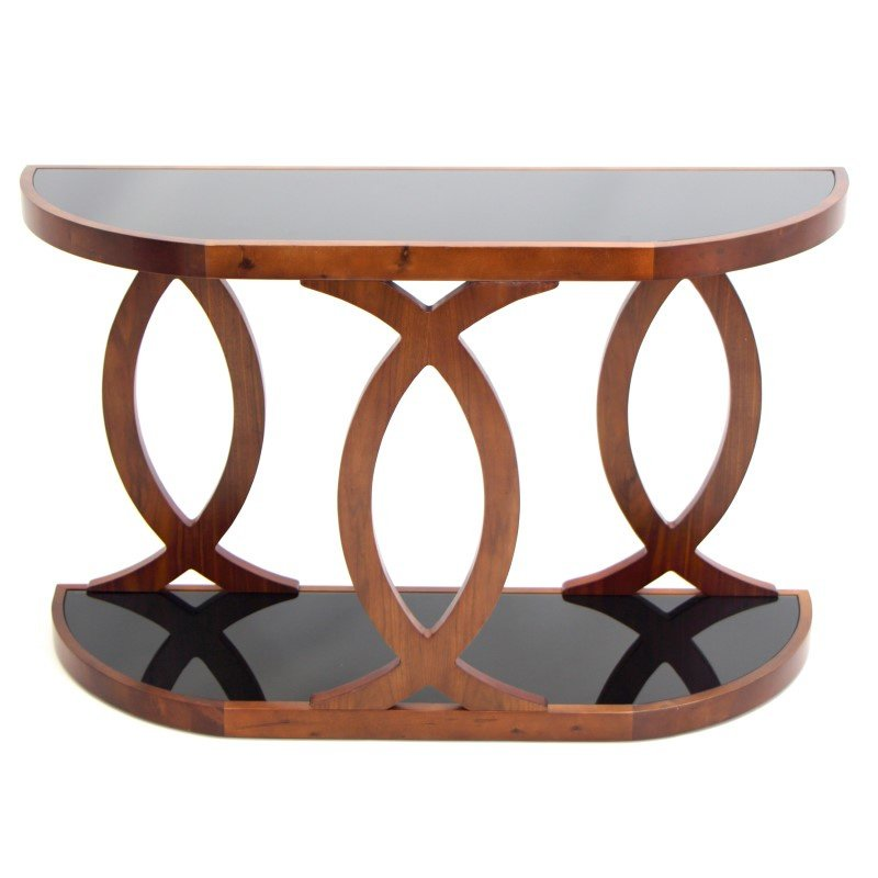 Lumisource Pesce Console Table in Walnut and Black