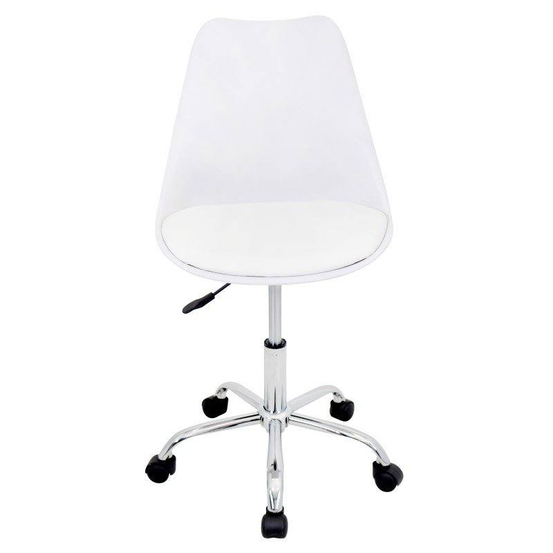 Lumisource Petal Height Adjustable Office Chair in White and White