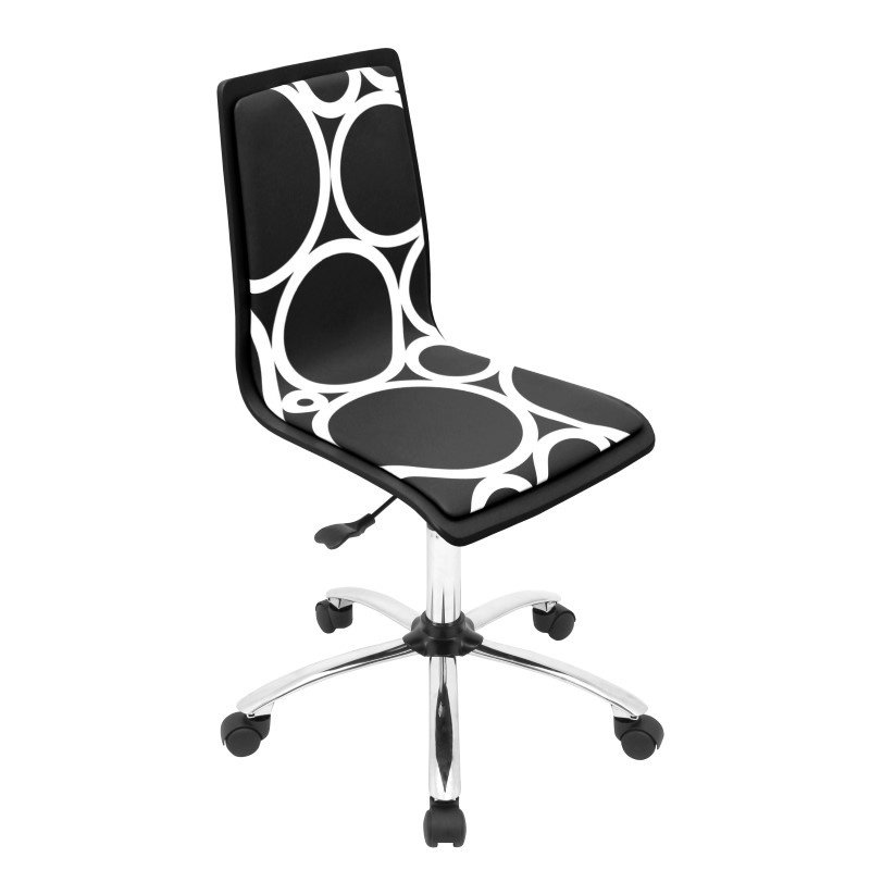Lumisource Printed Height Adjustable Office Chair in Black Circles