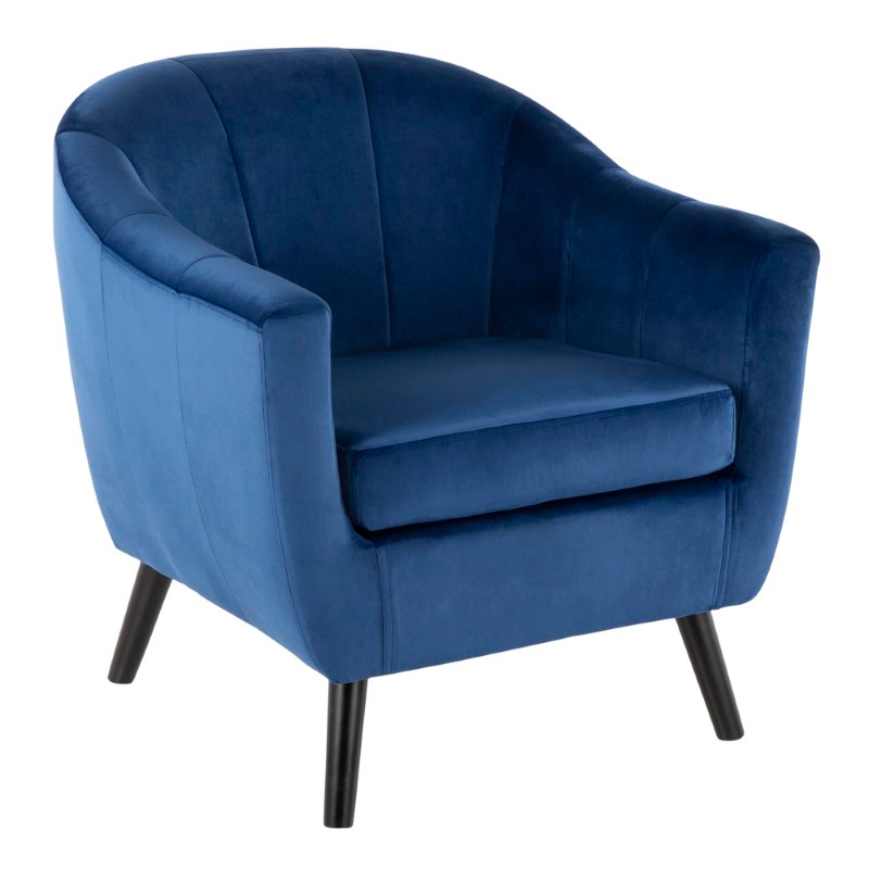 Lumisource Rockwell Contemporary Accent Chair with Black Wooden Legs and Blue Velvet (CHR-RCKWLV BU)