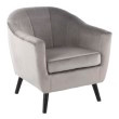 Lumisource Rockwell Contemporary Accent Chair with Black Wooden Legs and Silver Velvet (CHR-RCKWLV SV)