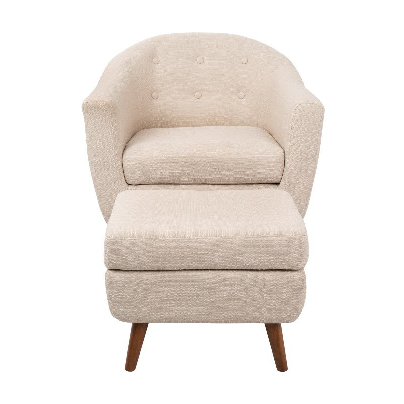 Lumisource Rockwell Mid-Century Modern Accent Chair and Ottoman in Beige (C2-AH-RKWL BG)