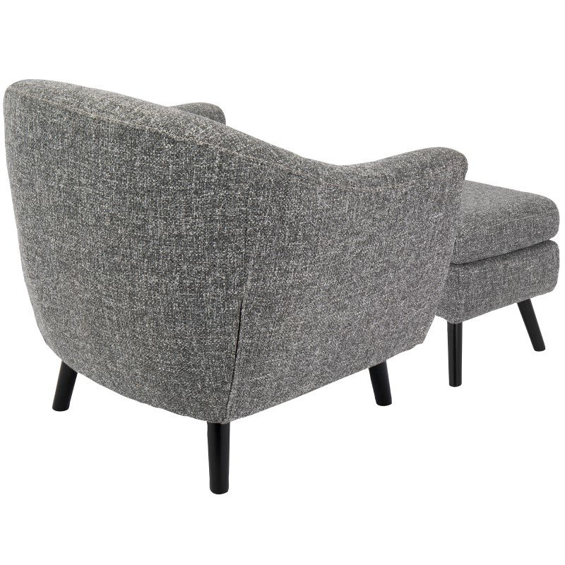 Lumisource Rockwell Mid-Century Modern Accent Chair and Ottoman in Dark Grey Noise Fabric (C2-AZ-RKWL DGY)