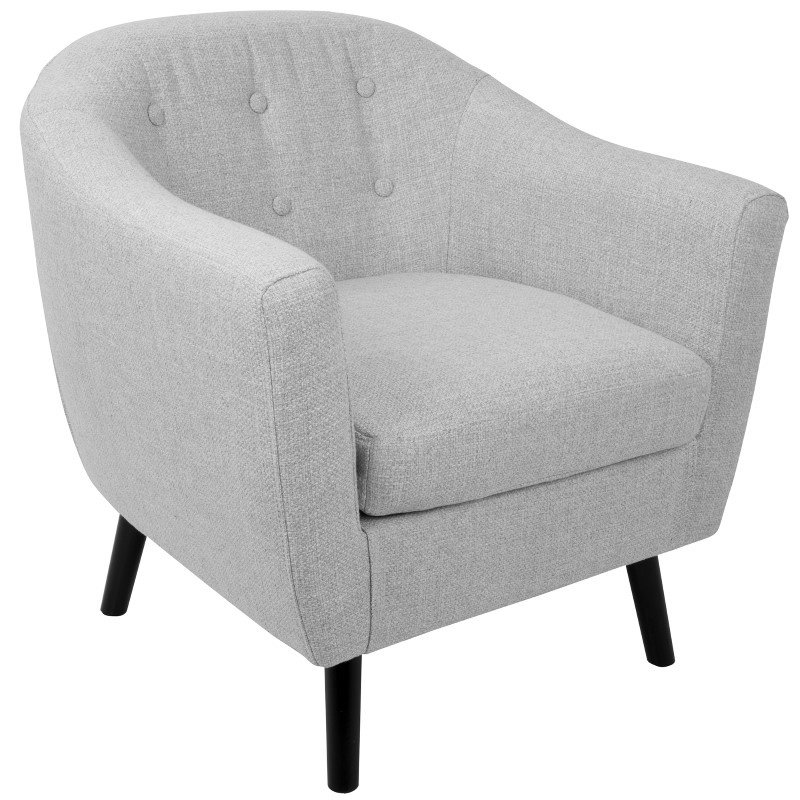 Lumisource Rockwell Mid-Century Modern Accent Chair with Noise Fabric in Light Grey (CHR-AZ-RKWL LGY)