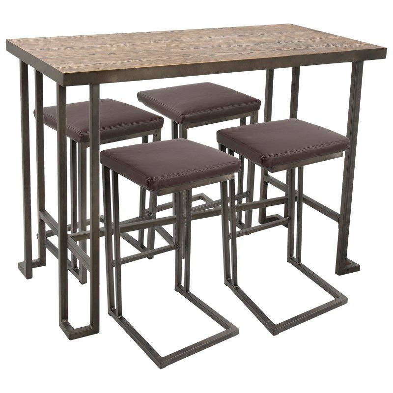 Lumisource Roman 5-Piece Industrial Counter Height Dining Set in Antique and Brown (C-RMN5 AN+BN)