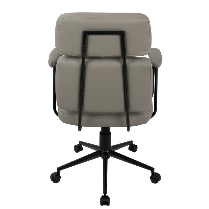 Lumisource Sigmund Contemporary Adjustable Office Chair in Grey Faux Leather (OFC-AC-SIGMD GY)