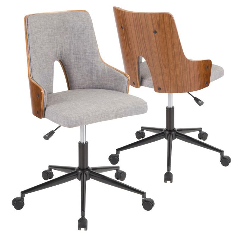Lumisource Stella Mid-Century Modern Office Chair in Walnut Wood and Grey Fabric (OC-STLA WL+GY)