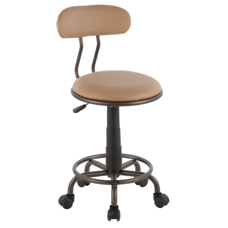 Lumisource Swift Industrial Task Chair in Antique Metal and Camel Faux Leather (OC-SWFT AN+CAM)
