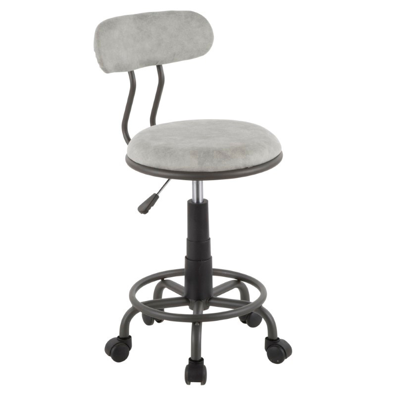 Lumisource Swift Industrial Task Chair in Grey Metal and Light Grey Faux Leather (OC-SWFT GY+GY)