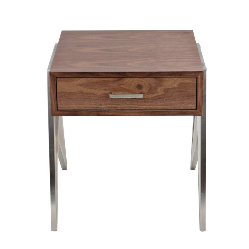 Lumisource Tetra Contemporary End Table in Walnut Wood and Stainless Steel