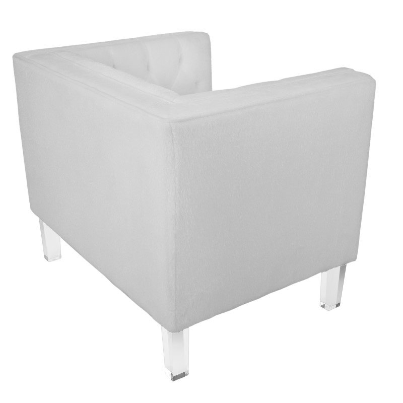Lumisource Valentina Contemporary Accent Chair in Bone White Mohair Fabric & Acrylic Legs (CH-VALTINA W)