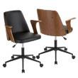 Lumisource Verdana Mid-Century Modern Office Chair in Walnut Wood and Black Faux Leather (OC-VRDNA WL+BK)