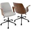Lumisource Verdana Mid-Century Modern Office Chair in Walnut Wood and Grey Fabric (OC-VRDNA WL+GY)