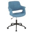 Lumisource Vintage Flair Mid-Century Modern Office Chair in Blue with Black Metal Base (OC-VFL BK+BU)