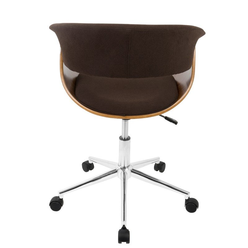 Lumisource Vintage Mod Mid-Century Modern Office Chair in Walnut Wood and Espresso Fabric (OC-VMO WL+E)