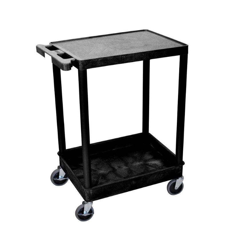 Luxor 2 Shelf Black Tub Cart (STC21-B)