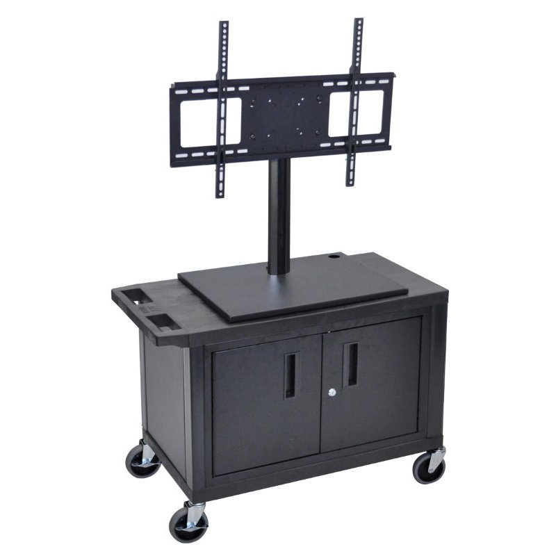 Luxor 2 Shelf & Cabinet with Electric Flat Panel TV Cart (ET25CE-B)