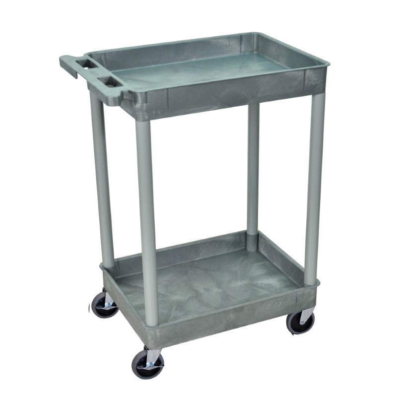 Luxor 2 Shelf Gray Tub Cart (STC11-G)